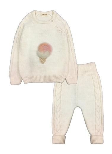 By Leyal For Kids Dondurma Detaylı Triko Kazak Ve Pantolon Takım-7010 Krem
